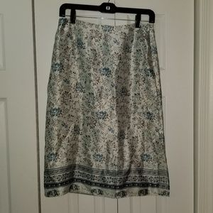 Satin Floral Knee Length Skirt